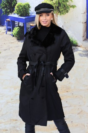 Black interior fur coat