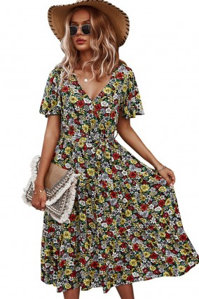 Black floral country dress