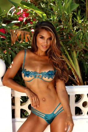 Blue set bra Sexy Embroidery