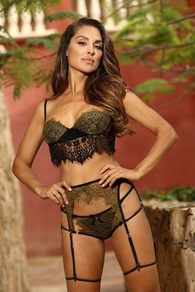 Khaki and black 4-piece lingerie set