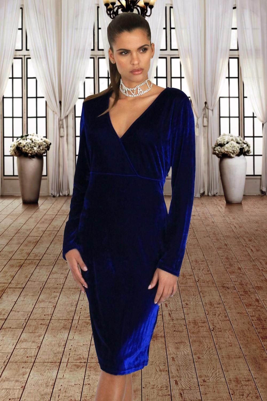 Robe En Velours Bleu